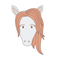 Light colors of front face of female horse with vector