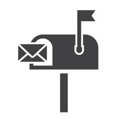 mailbox solid icon letter and website vector image