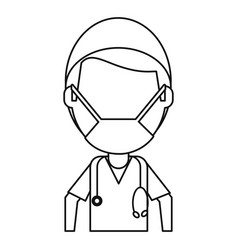 Male surgeon medical professional thin line vector