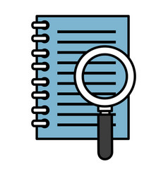 Note book with magnifying glass vector