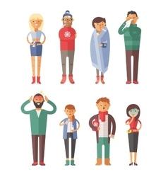 People ill Seasonal virus vector image
