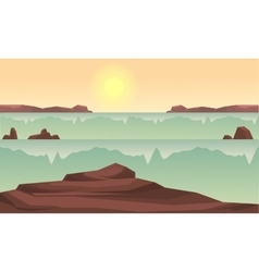 Silhouette of rock and river at sunrise vector