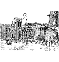 Sketch hand drawing of rome italy famous cityscape vector