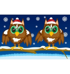 Two owls on tree vector
