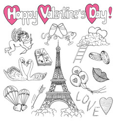 valentines day set with love doodles vector image vector image