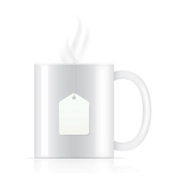 white tea cup with tea bag vector image vector image