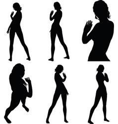 woman silhouette with hand gesture greet vector image