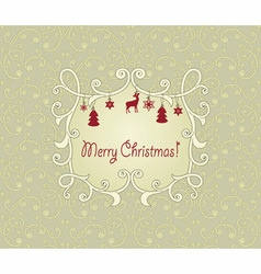Vintage pattern with christmas greetings vector