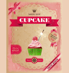 Poster of confectionery bakery with cupcakes vector