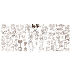 sketch monochrome coffee elements collection vector image
