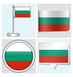 Bulgaria flag - sticker button label flagstaff vector image