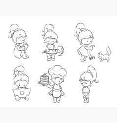Set of cute little girls vector