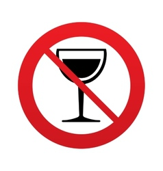 Wine glass sign icon dont drink alcohol symbol vector