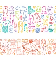 Seamless borders of different women clothes vector