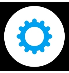 Gear flat blue and white colors round button vector