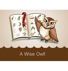 Wise owl and science book vector
