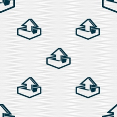 Upload icon sign seamless pattern with geometric vector