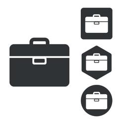 Briefcase icon set monochrome vector image