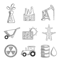 Industrial and mining sketched icons vector