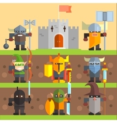 Castle and knights medieval game set vector
