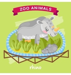 Zoo animal rhino vector