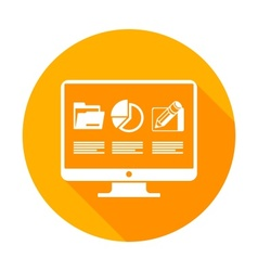 Infographic elements on monitor in yellow vector