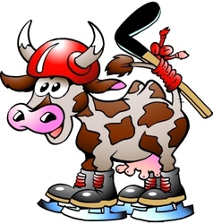 Cow playing hockey sport vector