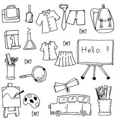 Collection element school doodles vector