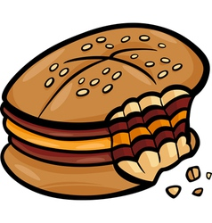 bitten cheeseburger cartoon clip art vector image