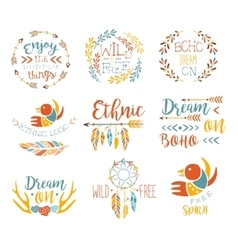 Boho logo hand drawn banner set vector