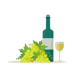 Bottle of Wine and Wineglass vector image