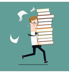 Businessman run holding a lot of documentation in vector