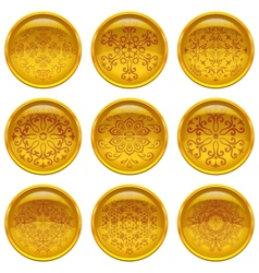 Buttons with patterns set vector image vector image