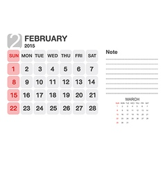 Calendar february 2015 vector