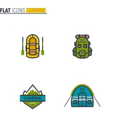 Camping flat line icons vector