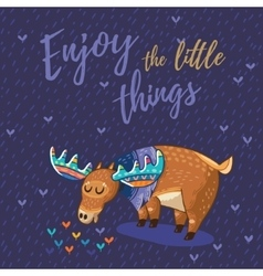 card with awesome elk vector image
