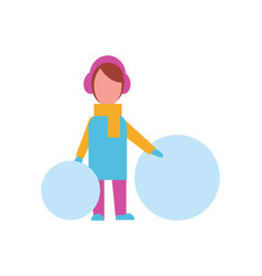 Child with big balls of snow dressed in warm cloth vector