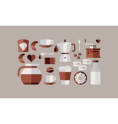 Coffee breakfast icons vector image