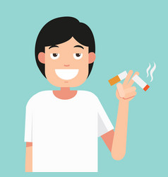 Cut a cigarettesconcept for anti smoking vector