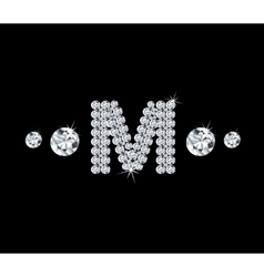 Diamond alphabetic letter M vector image