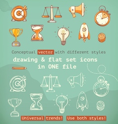 Drawing and flat set icons conceptual with vector