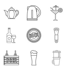 Drunken binge icons set outline style vector