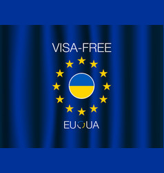 european union and ukraine visa-free regime banner vector image vector image