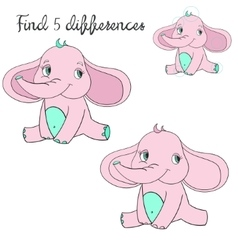 Find differences kids layout for game elephant vector
