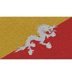 Flags of Bhutan on denim texture vector image