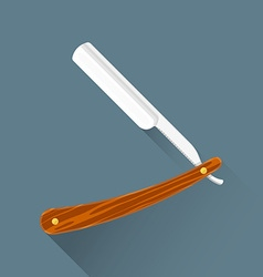 Flat barber cut throat razor icon vector
