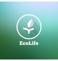 Flat minimalistic eco logo on blurred vector