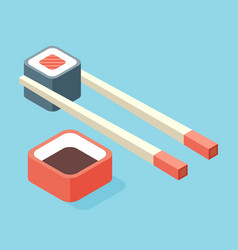 food - sushi roll with nori modern 3d flat design vector image vector image