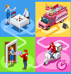food truck ice cream cart home delivery isometric vector image vector image