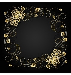 Gold flowers with shadow on dark background vector image vector image